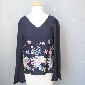 Karen Kane Embroidered Top Bell Sleeves Navy